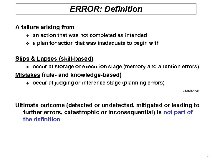ERROR: Definition A failure arising from v v an action that was not completed