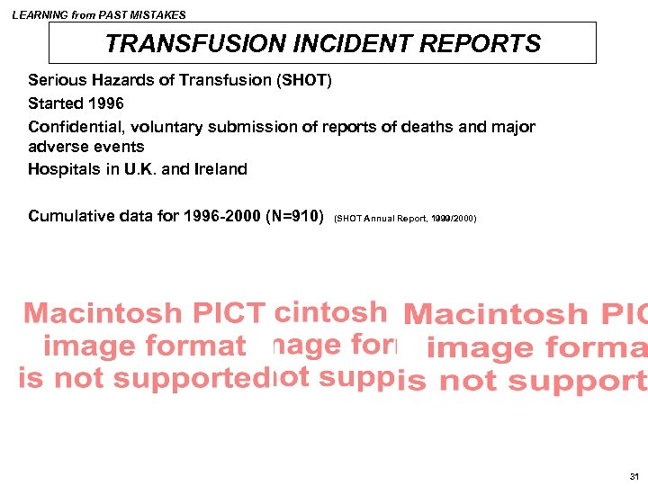 LEARNING from PAST MISTAKES TRANSFUSION INCIDENT REPORTS Serious Hazards of Transfusion (SHOT) Started 1996
