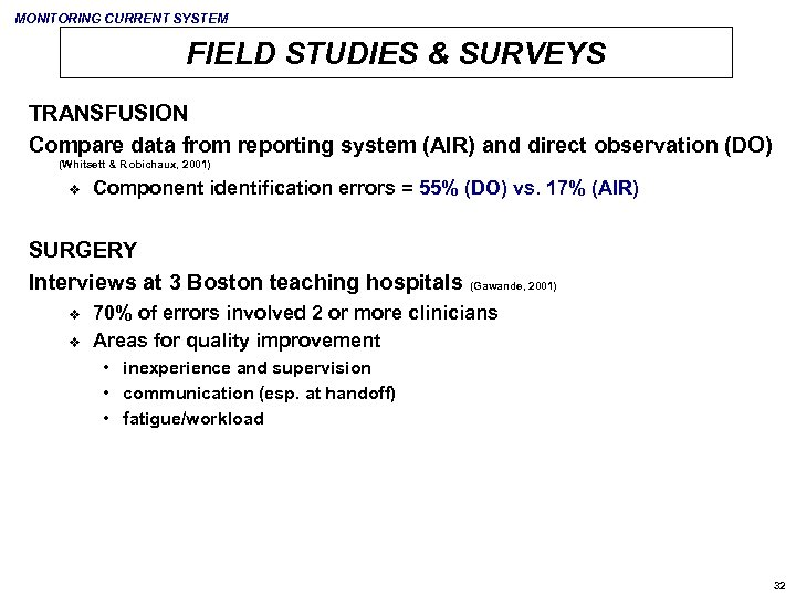 MONITORING CURRENT SYSTEM FIELD STUDIES & SURVEYS TRANSFUSION Compare data from reporting system (AIR)