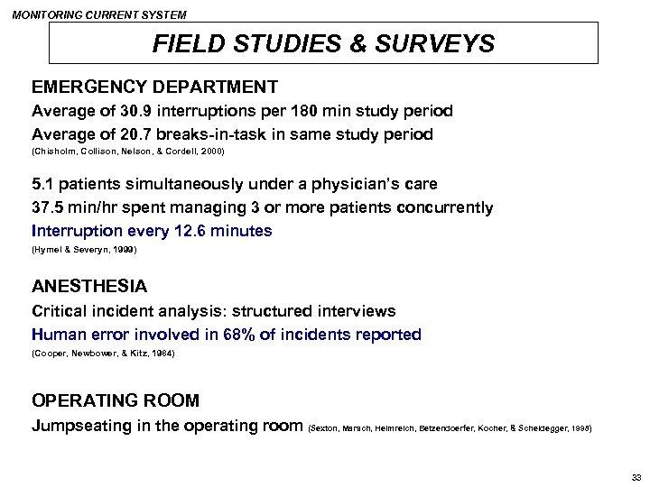 MONITORING CURRENT SYSTEM FIELD STUDIES & SURVEYS EMERGENCY DEPARTMENT Average of 30. 9 interruptions