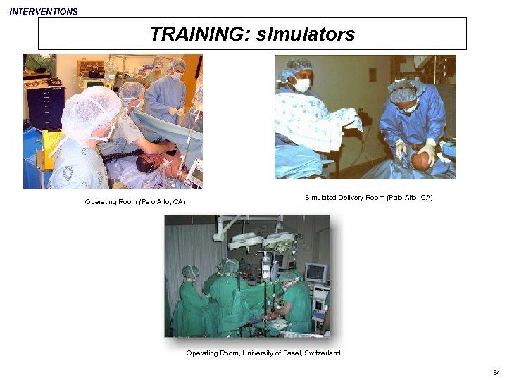 INTERVENTIONS TRAINING: simulators Operating Room (Palo Alto, CA) Simulated Delivery Room (Palo Alto, CA)