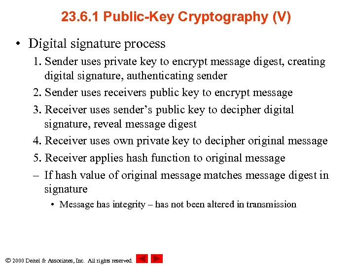 23. 6. 1 Public-Key Cryptography (V) • Digital signature process 1. Sender uses private