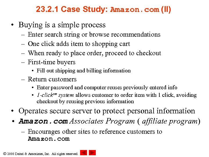 23. 2. 1 Case Study: Amazon. com (II) • Buying is a simple process