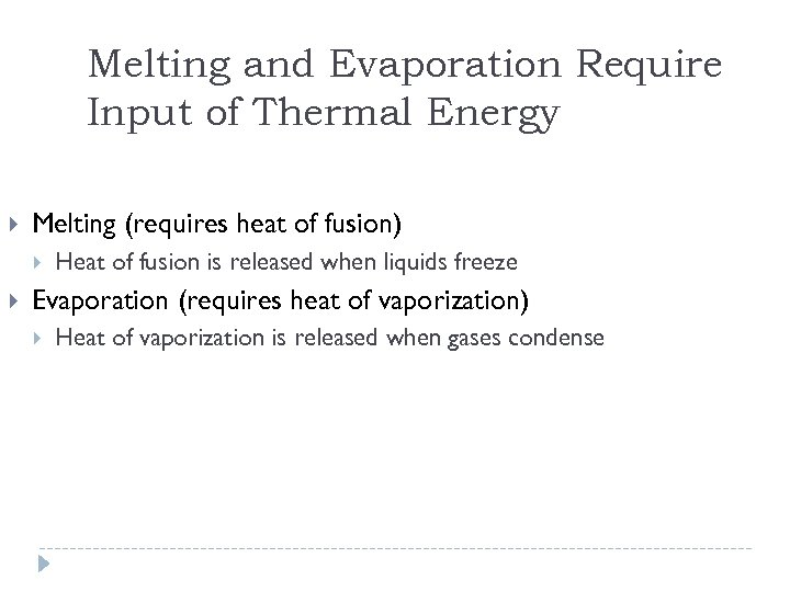 Melting and Evaporation Require Input of Thermal Energy Melting (requires heat of fusion) Heat