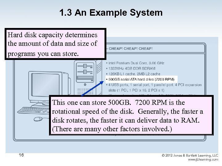 1. 3 An Example System Hard disk capacity determines the amount of data and