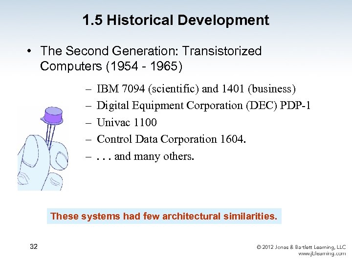1. 5 Historical Development • The Second Generation: Transistorized Computers (1954 - 1965) –