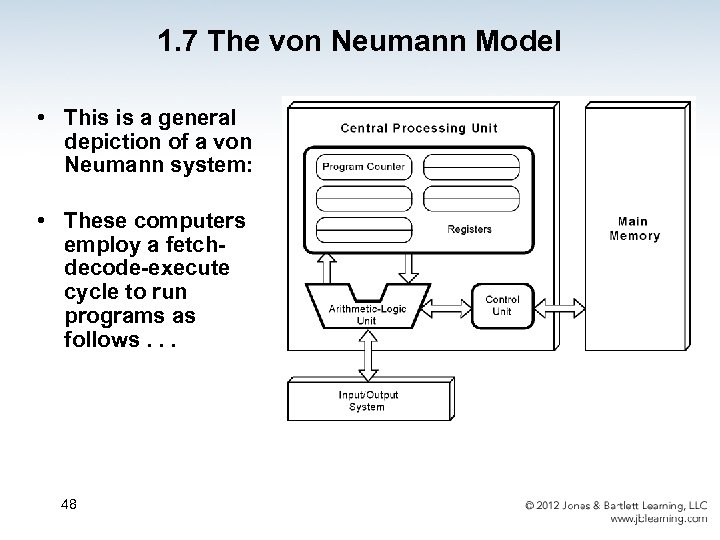 1. 7 The von Neumann Model • This is a general depiction of a