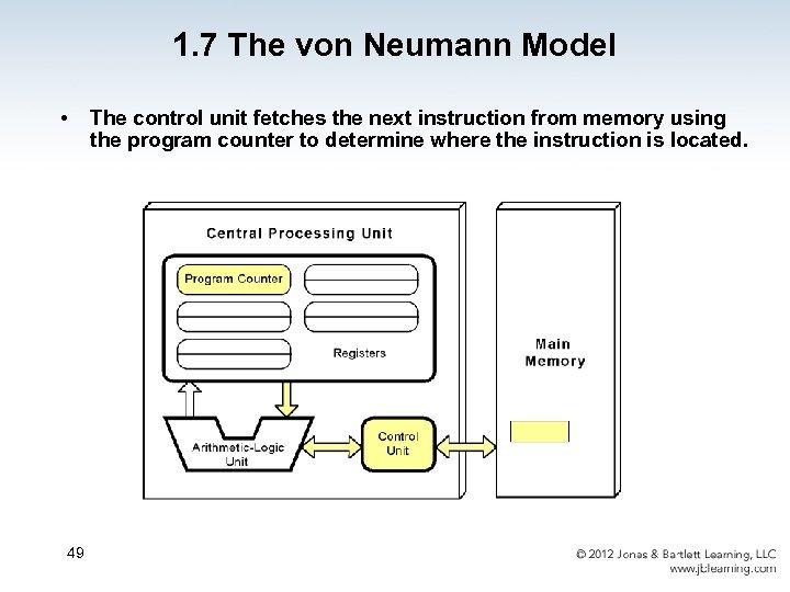 1. 7 The von Neumann Model • 49 The control unit fetches the next