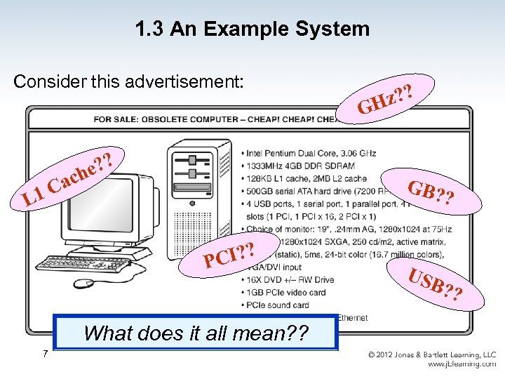 1. 3 An Example System Consider this advertisement: z? ? H G e? ?