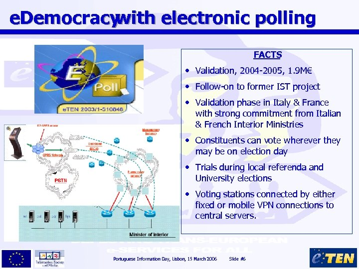 e. Democracy with electronic polling FACTS • Validation, 2004 -2005, 1. 9 M€ •