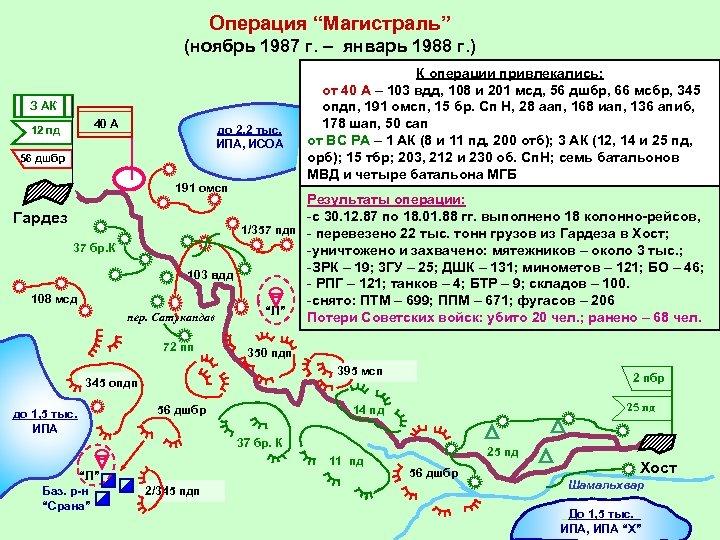 """Операция """"Магистраль"""" (ноябрь 1987 г. – январь 1988 г. ) З АК 12 пд"""
