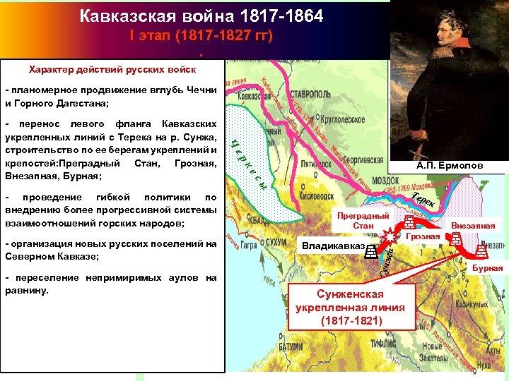 Кавказская война 1817 -1864 I этап (1817 -1827 гг). Характер действий русских войск -