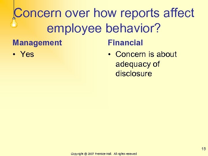 Concern over how reports affect employee behavior? Management • Yes Financial • Concern is