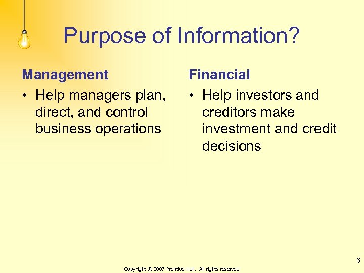 Purpose of Information? Management • Help managers plan, direct, and control business operations Financial