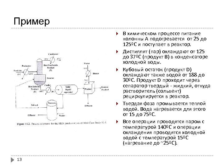 Пример 13 В химическом процессе питание колонны А подогревается от 25 до 125ºС и