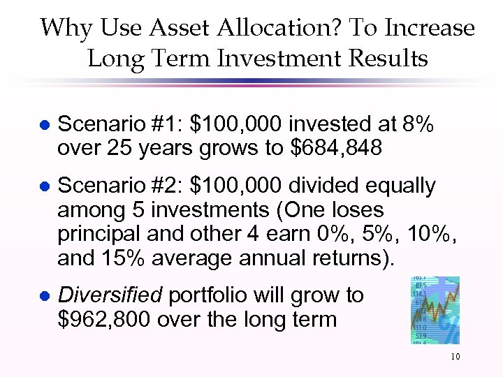 Why Use Asset Allocation? To Increase Long Term Investment Results l Scenario #1: $100,