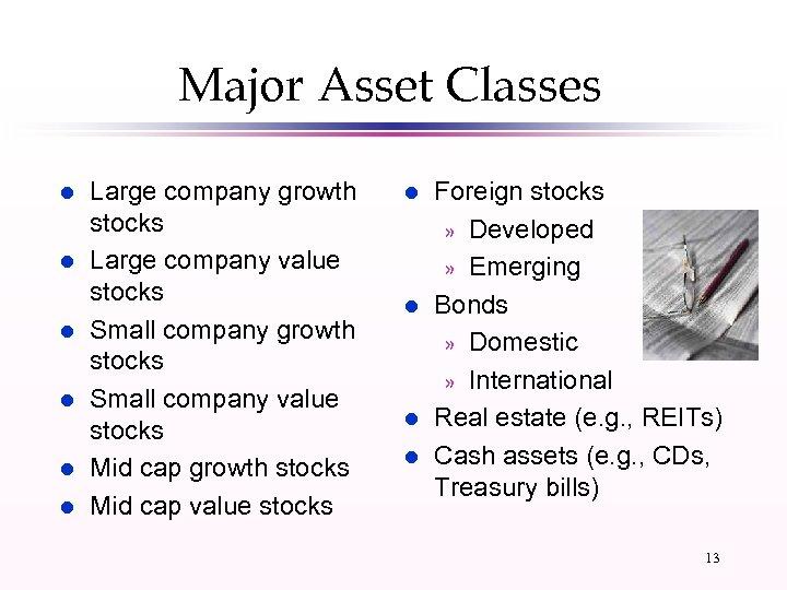 Major Asset Classes l l l Large company growth stocks Large company value stocks