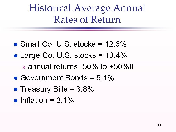 Historical Average Annual Rates of Return Small Co. U. S. stocks = 12. 6%