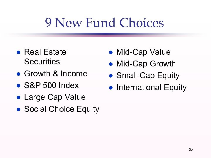 9 New Fund Choices l l l Real Estate Securities Growth & Income S&P