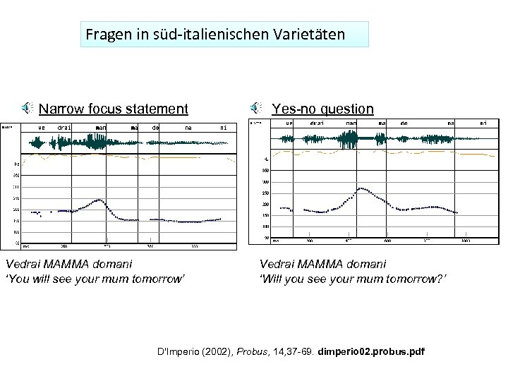 Fragen in süd-italienischen Varietäten Narrow focus statement Vedrai MAMMA domani 'You will see your