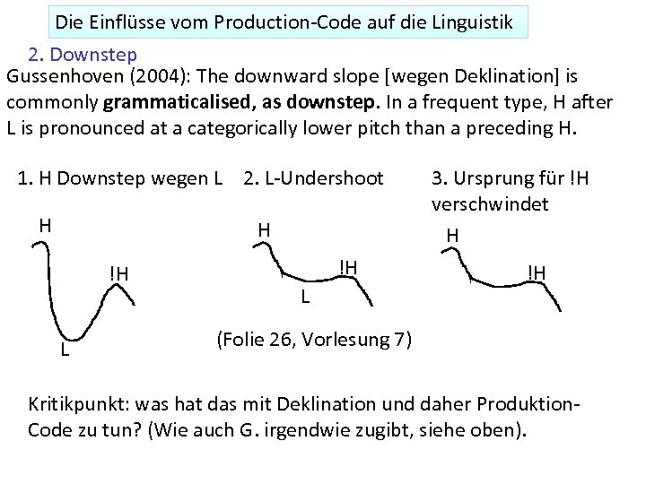 Die Einflüsse vom Production-Code auf die Linguistik 2. Downstep Gussenhoven (2004): The downward slope