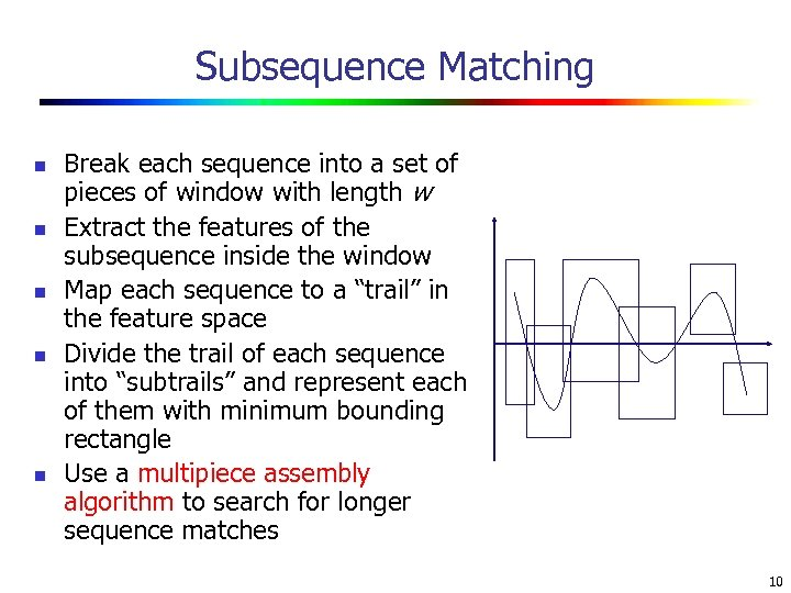 Subsequence Matching n n n Break each sequence into a set of pieces of