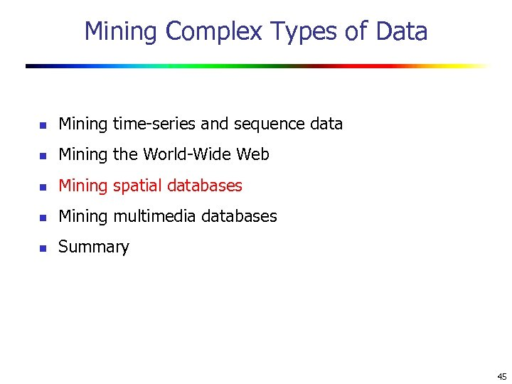 Mining Complex Types of Data n Mining time-series and sequence data n Mining the