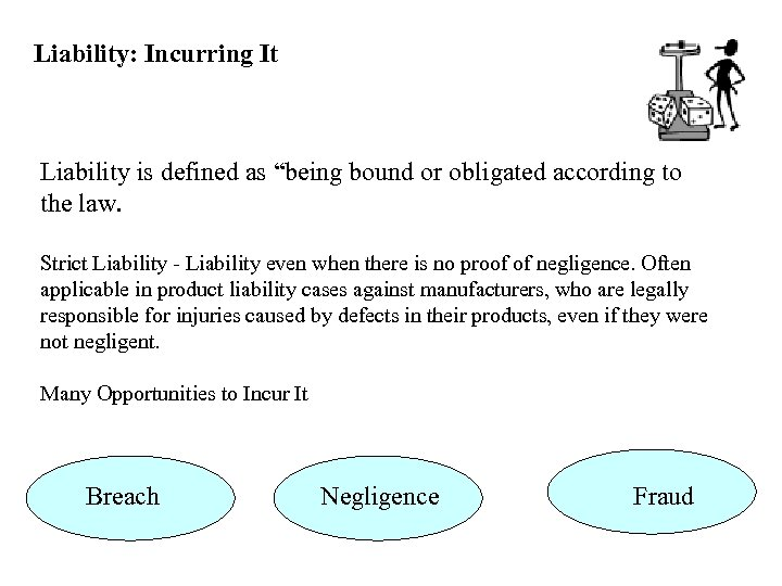 """Liability: Incurring It Liability is defined as """"being bound or obligated according to the"""
