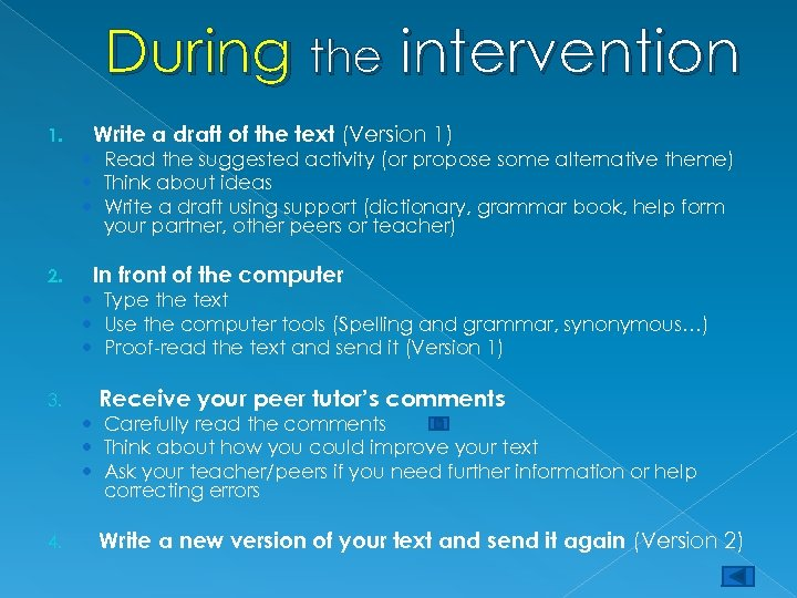 During the intervention 1. Write a draft of the text (Version 1) Read the