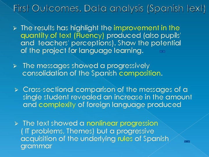 First Outcomes. Data analysis (Spanish text) Ø The results has highlight the improvement in