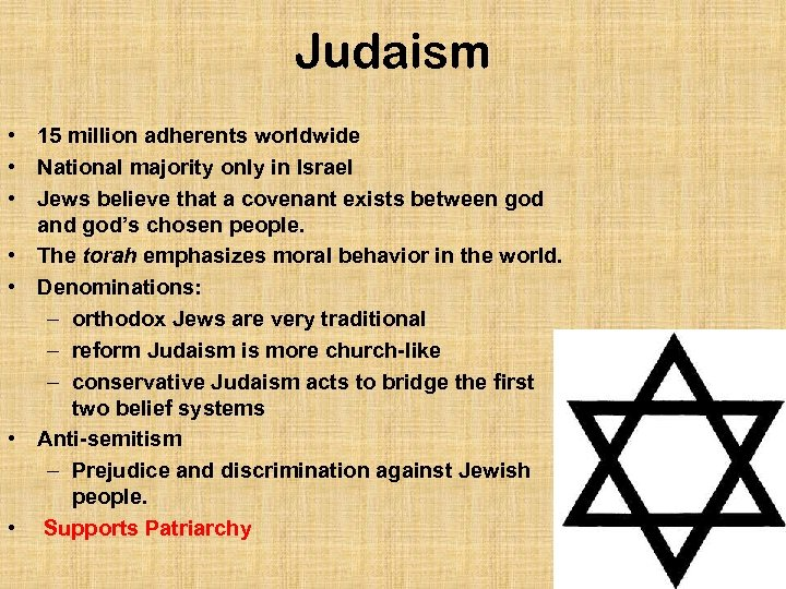 Judaism • 15 million adherents worldwide • National majority only in Israel • Jews