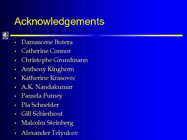 Acknowledgements s Damascene Butera Catherine Connor Christophe Grundmann Anthony Kinghorn Katherine Krasovec A. K.