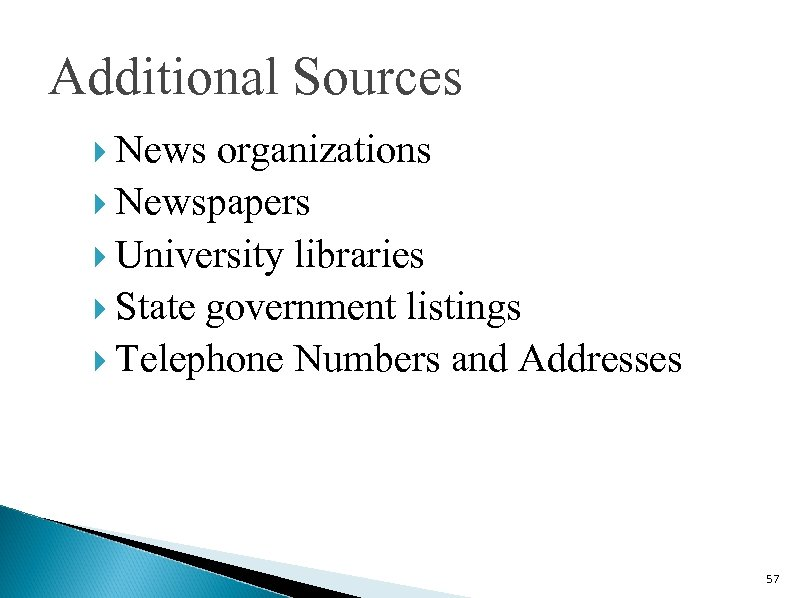 Additional Sources News organizations Newspapers University libraries State government listings Telephone Numbers and Addresses