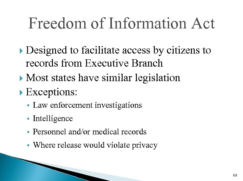 Freedom of Information Act Designed to facilitate access by citizens to records from Executive