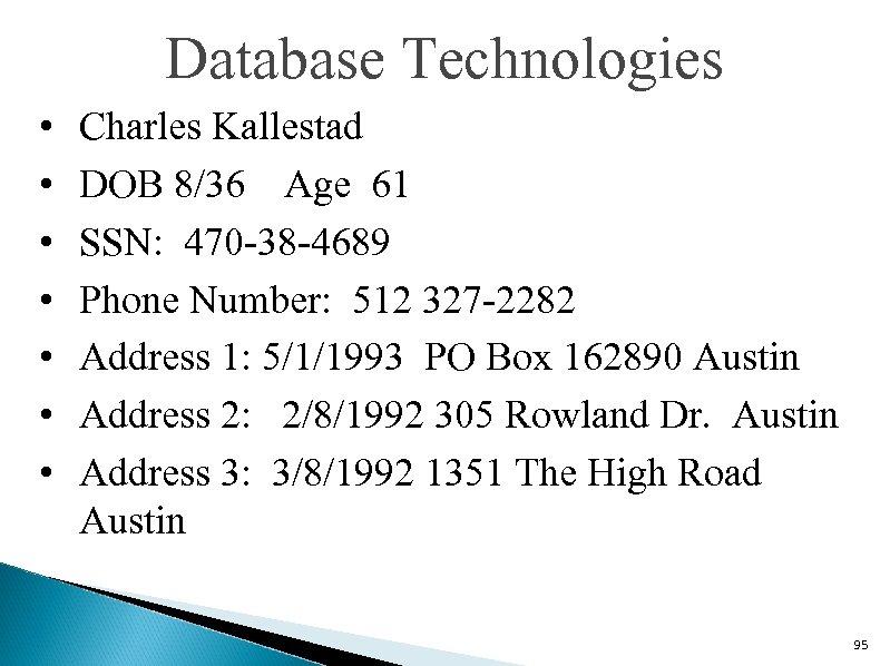 Database Technologies • • Charles Kallestad DOB 8/36 Age 61 SSN: 470 -38 -4689
