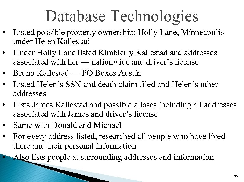 Database Technologies • Listed possible property ownership: Holly Lane, Minneapolis under Helen Kallestad •