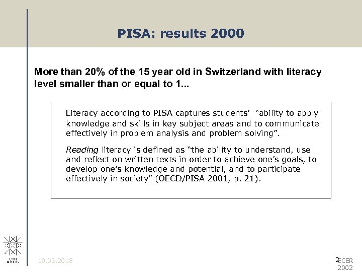 PISA: results 2000 More than 20% of the 15 year old in Switzerland with