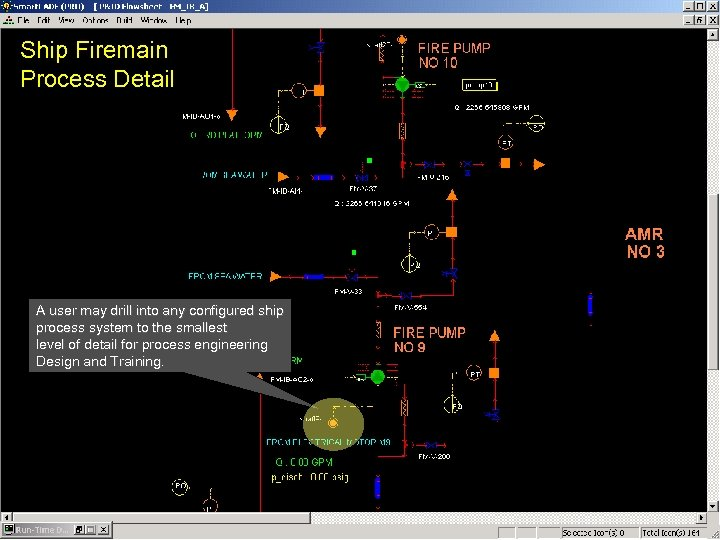 Ship Firemain Process Detail A user may drill into any configured ship process system