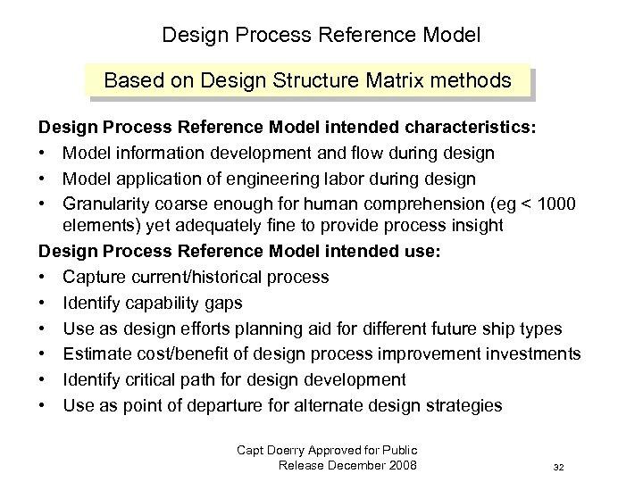 Design Process Reference Model Based on Design Structure Matrix methods Design Process Reference Model