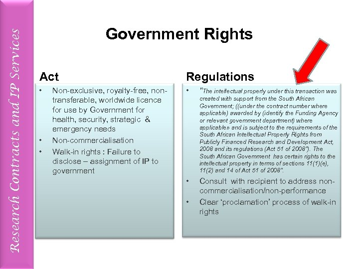 Research Contracts and IP Services Government Rights Act Regulations • • Non-exclusive, royalty-free, nontransferable,