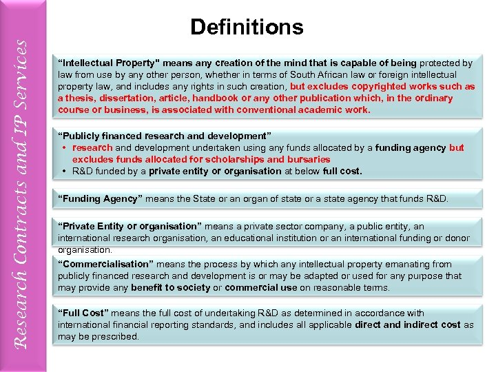 """Research Contracts and IP Services Definitions """"Intellectual Property"""