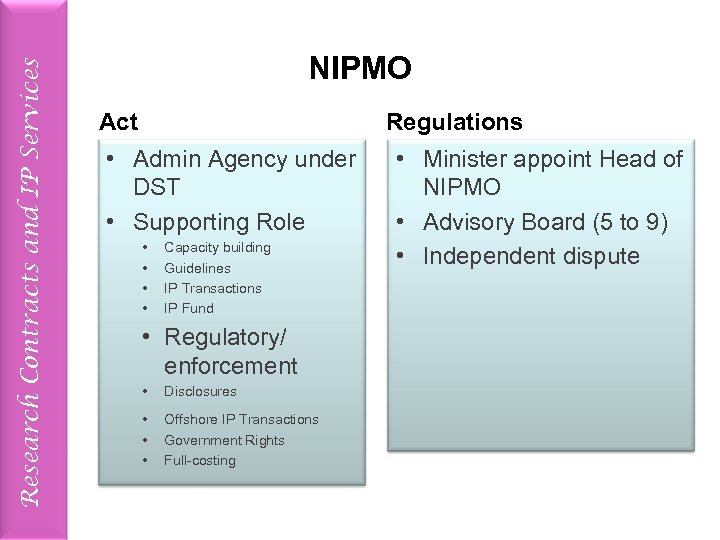 Research Contracts and IP Services NIPMO Act Regulations • Admin Agency under DST •