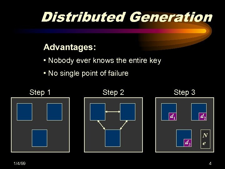 Distributed Generation Advantages: • Nobody ever knows the entire key • No single point