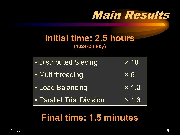 Main Results Initial time: 2. 5 hours (1024 -bit key) • Distributed Sieving ×