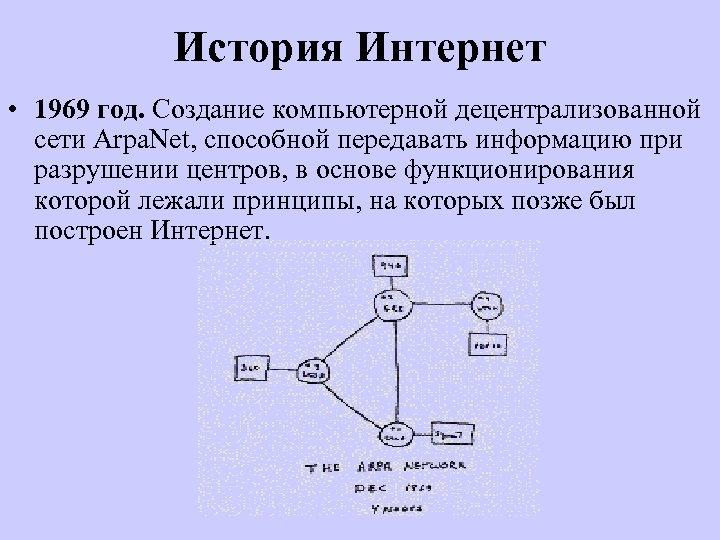 История Интернет • 1969 год. Создание компьютерной децентрализованной сети Arpa. Net, способной передавать информацию