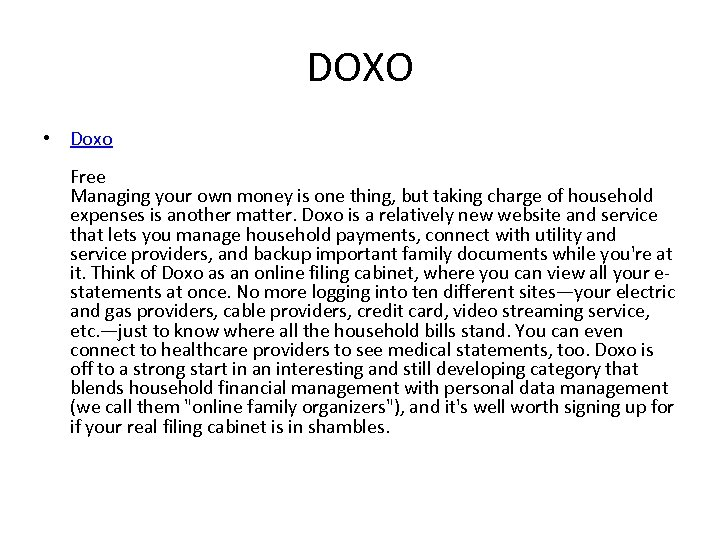 DOXO • Doxo Free Managing your own money is one thing, but taking charge