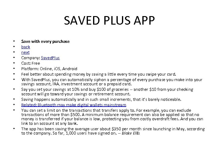 SAVED PLUS APP • • • • Save with every purchase back next Company: