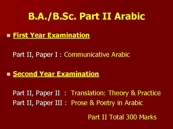 B. A. /B. Sc. Part II Arabic n First Year Examination Part II, Paper