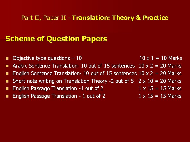 Part II, Paper II - Translation: Theory & Practice Scheme of Question Papers n