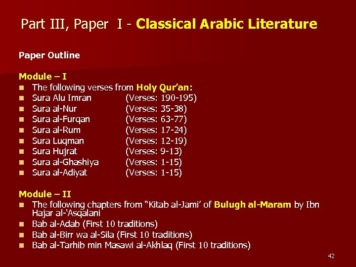Part III, Paper I - Classical Arabic Literature Paper Outline Module – I n